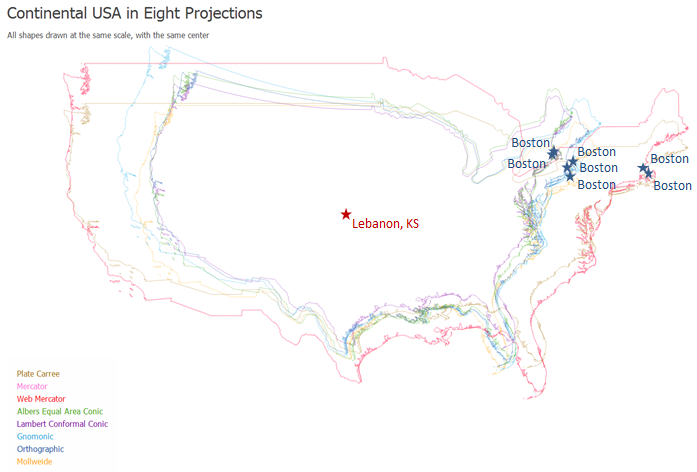 Projections And Coordinate Systems - Where is boston